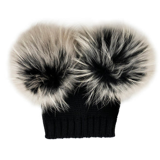 Black Wool Hat with Double Beige Tint Pom Pom