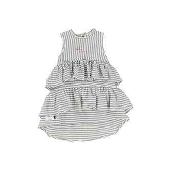 Ecru/Grey Striped Wave Dress