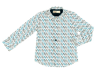Teal/Grey Allover Keys Print Shirt