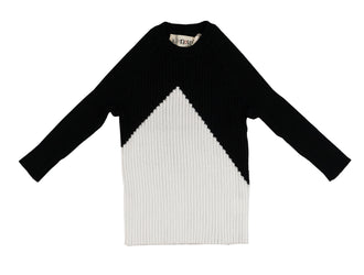 Black White Color Block Sweater
