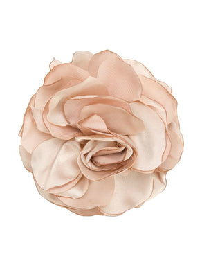 Eva Beige Silk Flower Brooch