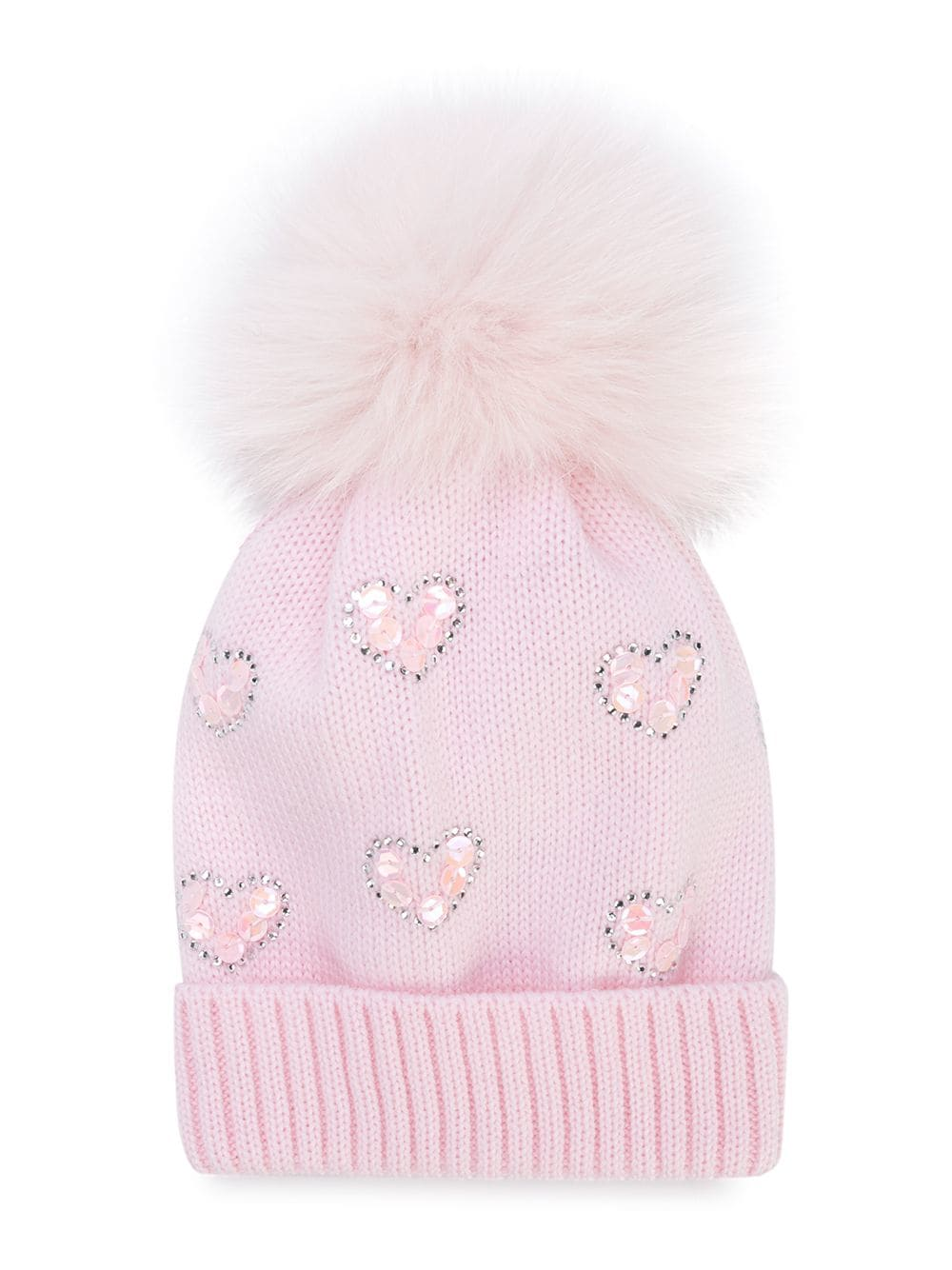 d08871e0737abc Baby Pink Hearts Hat with Fox Pom – The Red Balloon