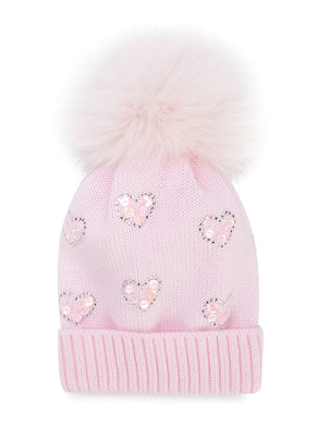 Baby Pink Hearts Hat with Fox Pom