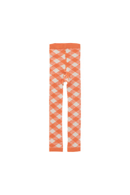 Orange Beige Check Leggings