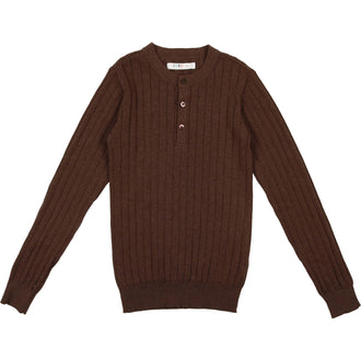 Mocha Heather Crew Ribbed Sweater