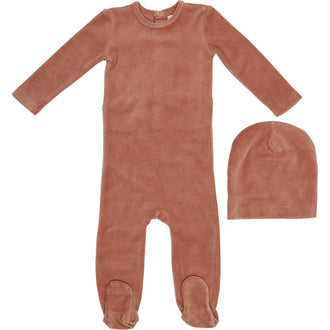 Dusty Sand Velour Onesie