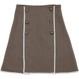 CCB Heathered Toffee Double Breasted Skirt with Cream Trim