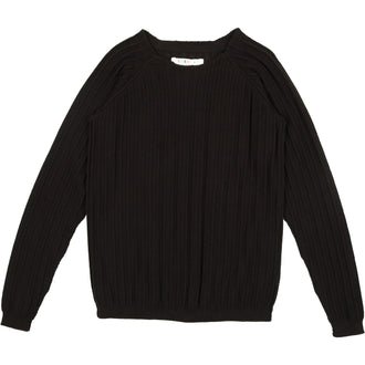 Black Ribbed Crew Sweater