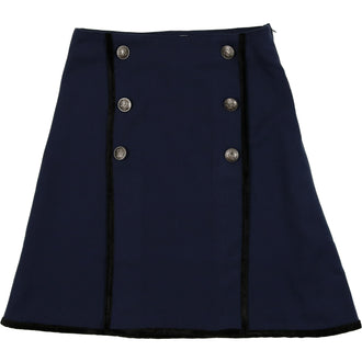 Heathered Navy Double Breasted Skirt with Black Trim