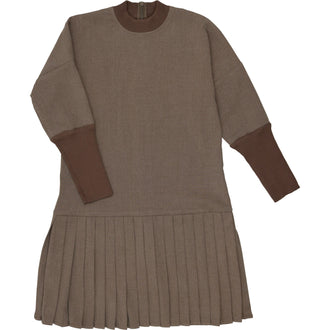 Heathered Toffee Wool Pleated Dress