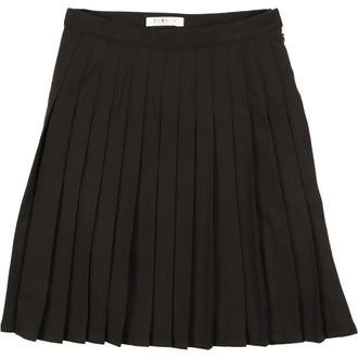 Heathered Black Wool Pleated Skirt