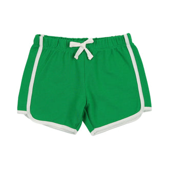 White/Kelly Green Pique Biker Shorts