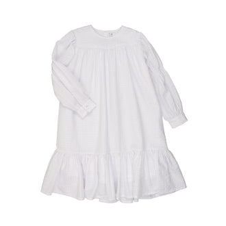 Ivory Seersucker Smocked Sleeve Dress