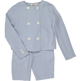 Pale Blue Linen Suit