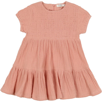 Smoky Rose Short Sleeve Smocked Dress