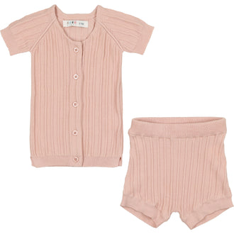 Smoky Rose Ribbed Set