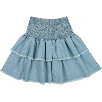 Denim Ruffled Skirt