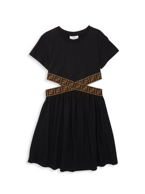 Black Dress With Logo Cut Out Waist Band