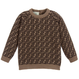 Brown Fendi Baby Logo Print Knit Top