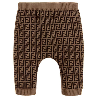 Brown Fendi Baby Logo Print Knit Pants