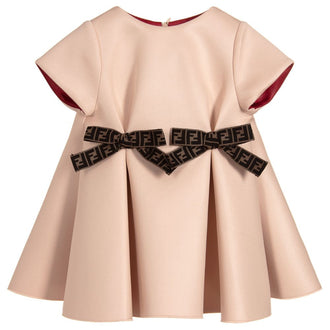 Peach Neoprene Baby Dress With Logo Bows