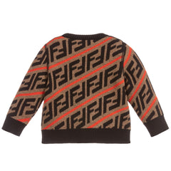 Red Fendi Logo Print Sweater