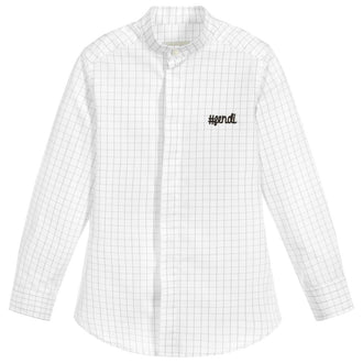 White Grid Print Button Up Shirt