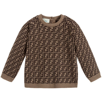 Brown Allover Logo Knit Sweater