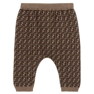 Brown Allover Logo Knit Pant