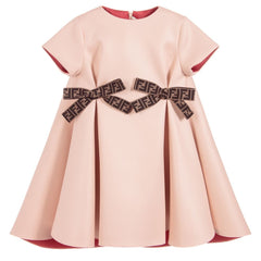 Peach Neoprene Dress With Logo Bows