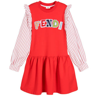 Red Striped Logo Dress