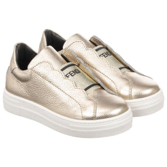 Gold Logo Slip On Sneakers
