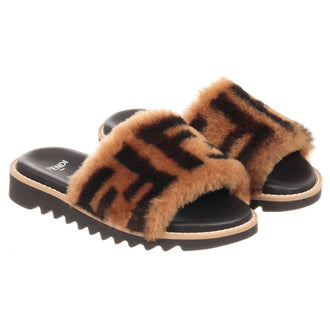 Brown Logo Fur Slides