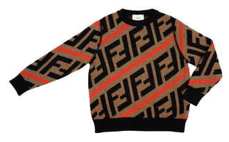 Brown/Red Logo Knit Sweater
