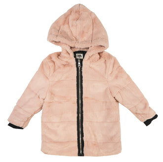 Dusty Pink Eco-Fur Hooded Coat