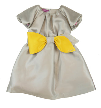 Silver Grey Taffeta Bow Dress