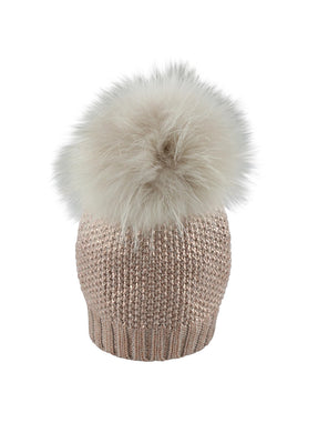 Champagne Metallic Hat W/Ivory Fox Pom