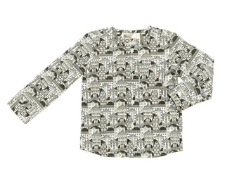 Grey Allover Print Collarless Shirt