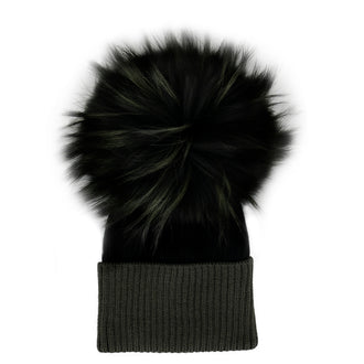 Olive Black Wool Hat with Olive Tinted Pom Pom