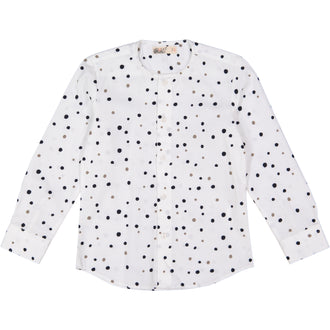 White With Grey Dots Collared Shirt