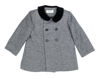 Nogal Grey Coat With Black Collar