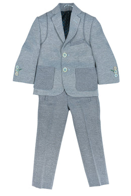 Light Blue Textured Suit
