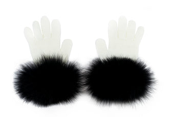 White Wool Gloves With Black Fox Fur