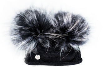 Black Light Wool Hat with Double Tint Poms