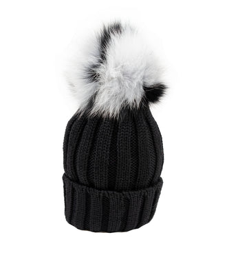 Black Wool Hat with Black&White Pom