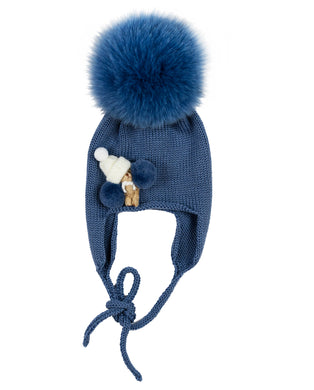 Powder Blue Wool Hat With Tiny Teddy Detail