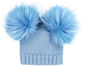 Powder Blue Wool Double Murmasky Pom Hat