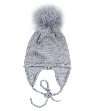 Grey Wool Fox Pom Hat With Strings