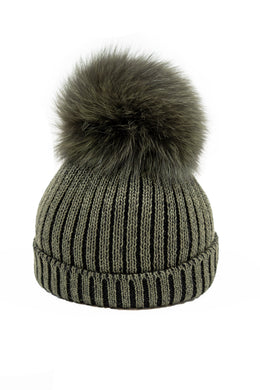 Olive Green Wool Hat With Fox Pom