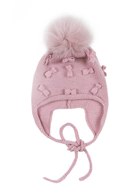 Powder Pink Bow Detail Fox Pom Hat